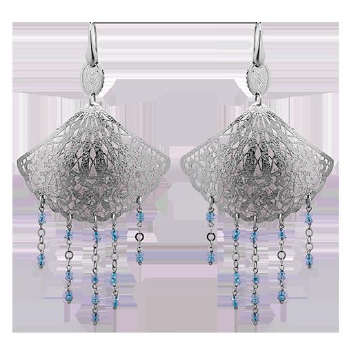 Серьги изсеребра сювелирным стеклом