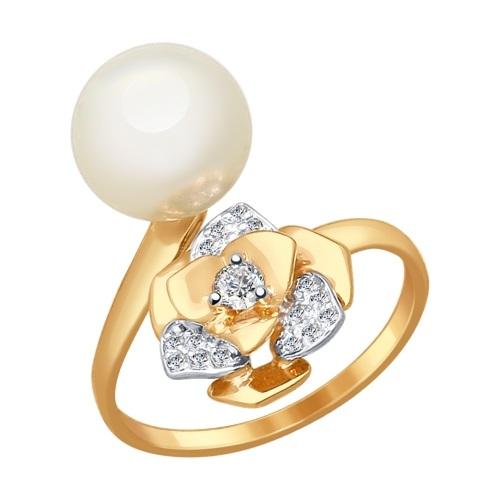 Кольцо иззолота сжемчугом ифианитом