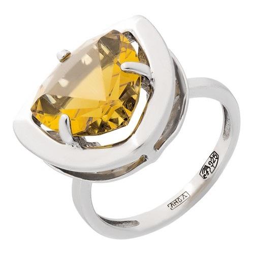 Кольцо изсеребра сцитрином