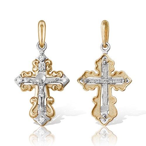 Крест избелого золота сбриллиантом