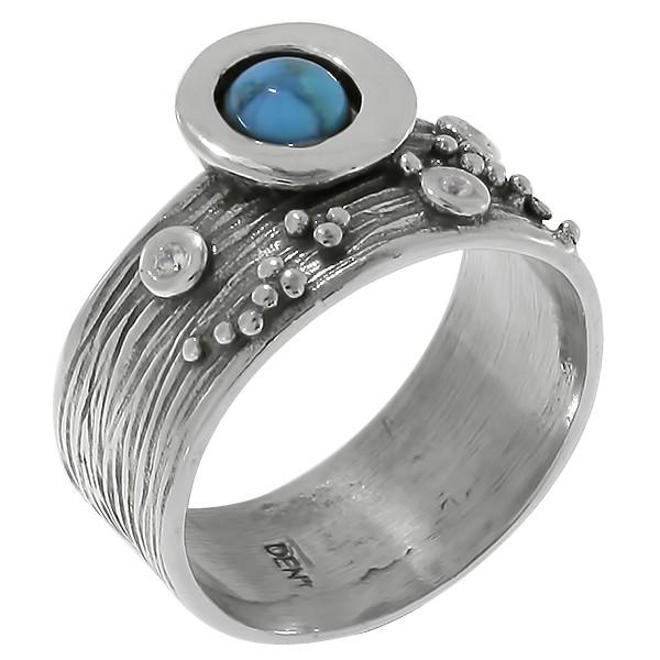 Кольцо изсеребра сбирюзой