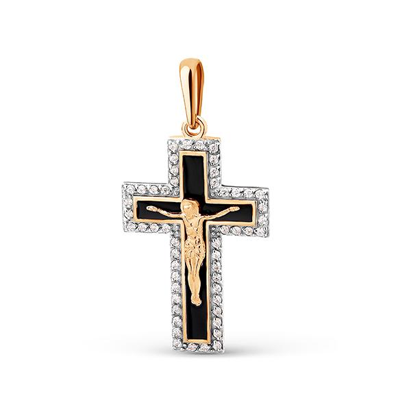 Крест иззолота сфианитом иэмалью