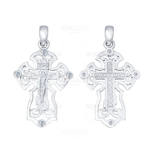 Крест изсеребра сфианитом