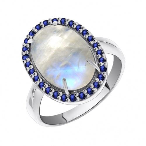 Кольцо изсеребра слунным камнем