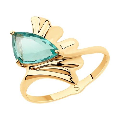 Кольцо иззолота срозовым кварцем