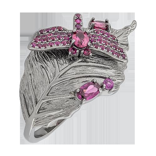 Кольцо изсеребра сродолитом