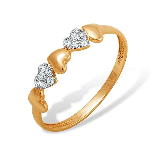 Кольцо иззолота сфианитом