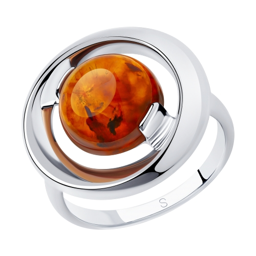 Кольцо изсеребра сянтарем