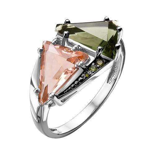 Кольцо изсеребра сювелирным стеклом