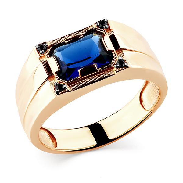 Кольцо иззолота со шпинелью иювелирным стеклом