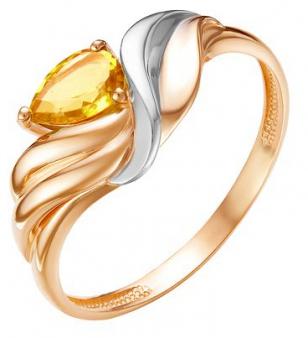 Кольцо иззолота сцитрином