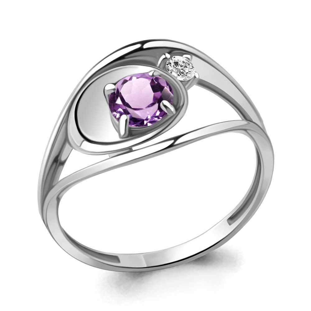 Кольцо изсеребра саметистом ифианитом