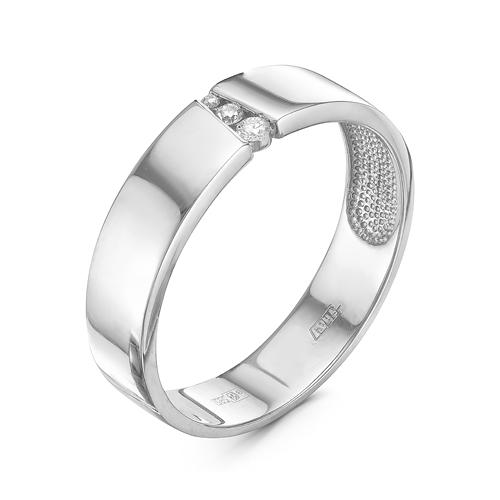 Кольцо обручальное избелого золота сбриллиантом