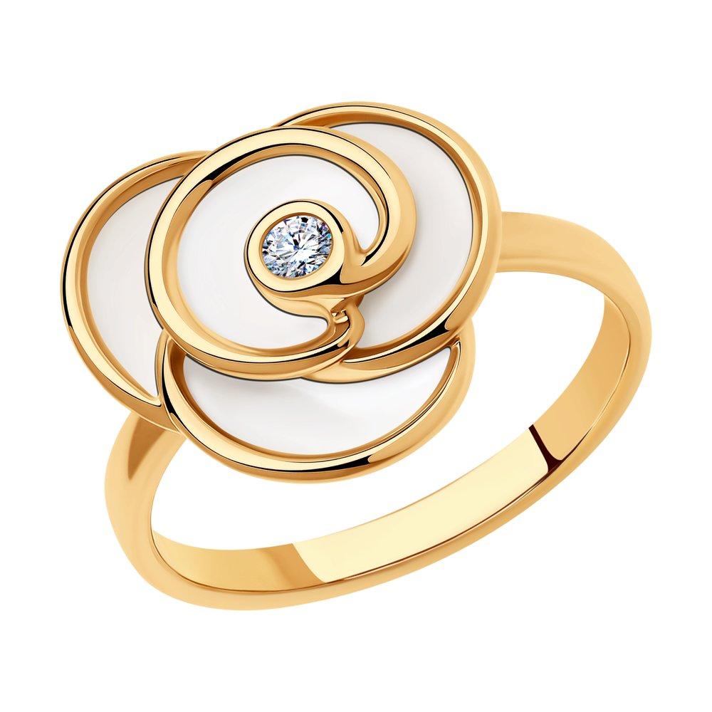 Кольцо изсеребра сфианитом иэмалью