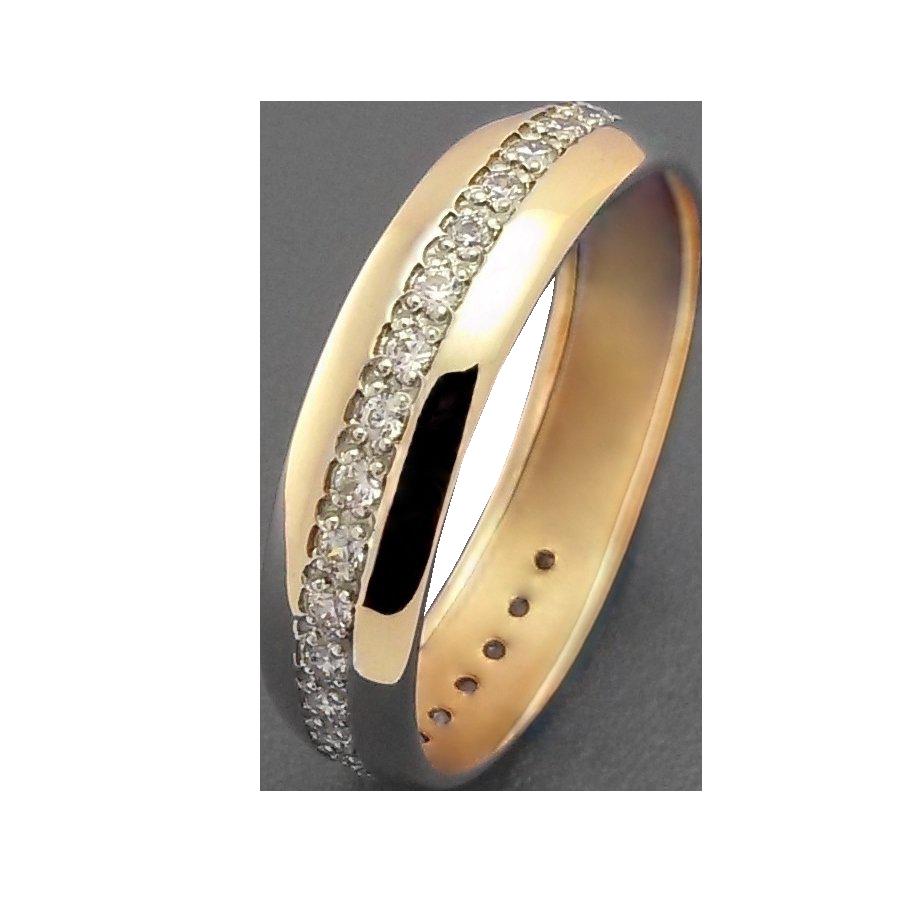 Кольцо обручальное иззолота сфианитом