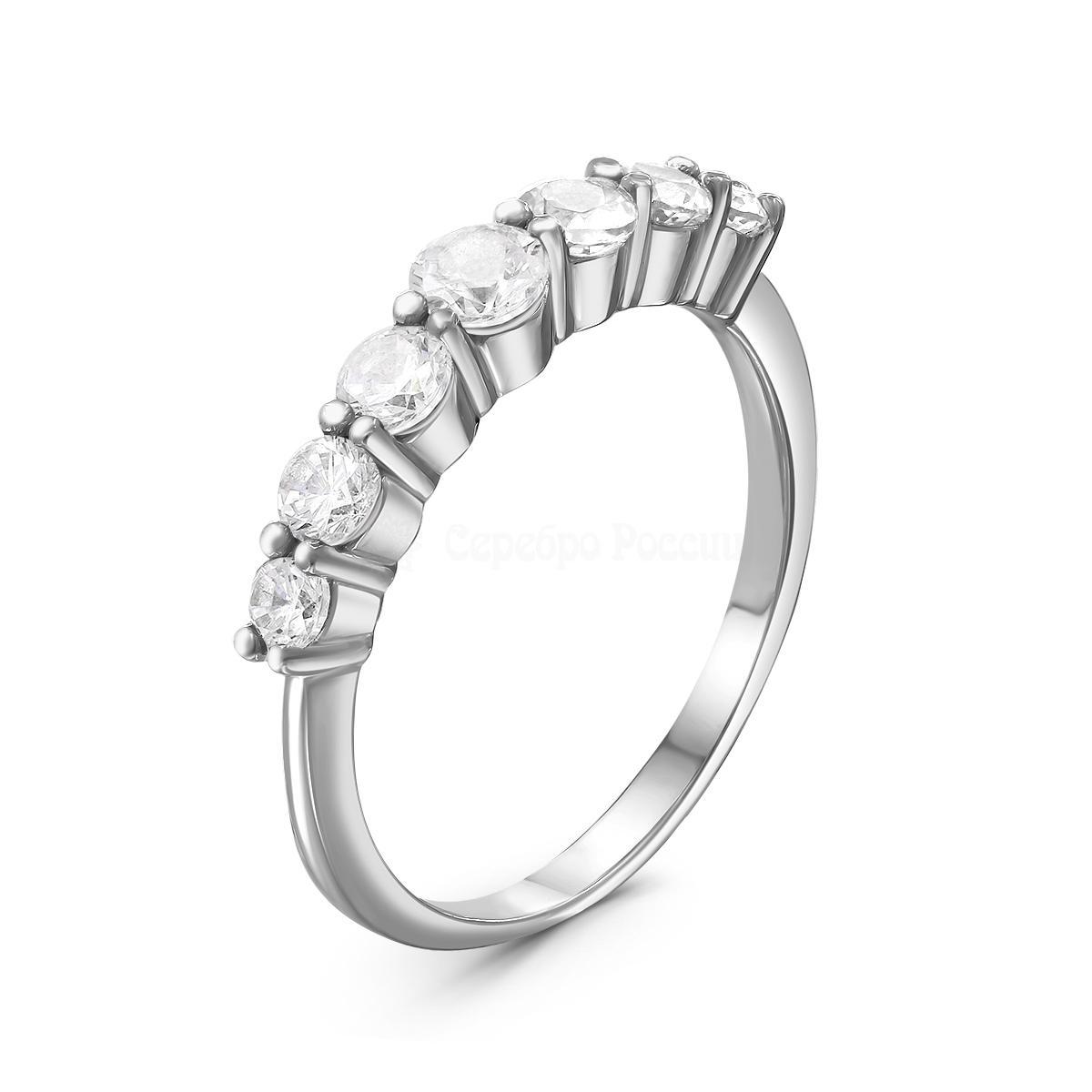 Кольцо изсеребра сфианитом