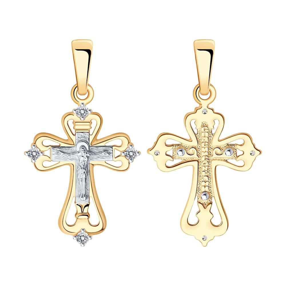 Крест иззолота сфианитом