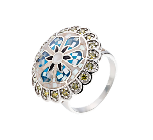 Кольцо изсеребра сперламутром