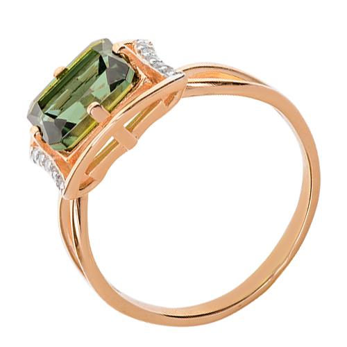 Кольцо иззолота стурмалином ифианитом
