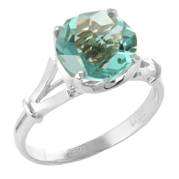 Кольцо иззолота саквамарином