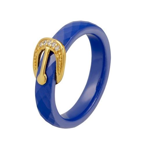 Кольцо изсеребра скерамикой